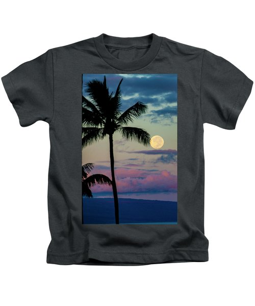 Full Moon And Palm Trees Kids T-Shirt