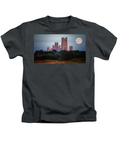 Full Moon Over Ely Cathedral Kids T-Shirt