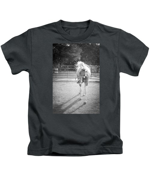 Funny Horse In Black And White Kids T-Shirt