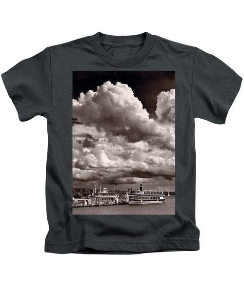 Gathering Clouds Over Lake Geneva Bw Kids T-Shirt