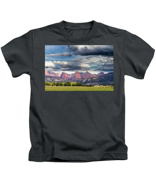 Gathering Storm Over The Fingers Of Kolob Kids T-Shirt