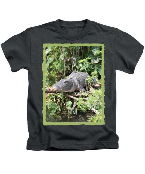 Gator In Green Kids T-Shirt by Carol Groenen