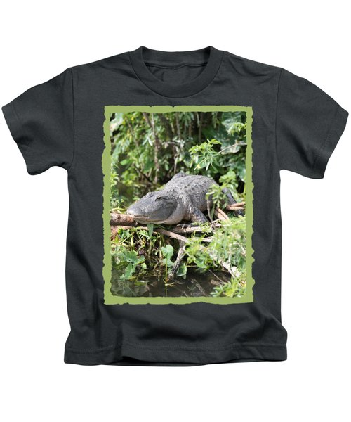 Gator In Green Kids T-Shirt by Carol Groenen
