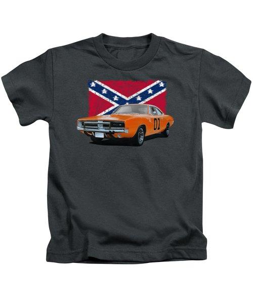 General Lee Rebel Kids T-Shirt by Paul Kuras