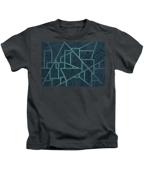 Geometric Abstraction In Blue Kids T-Shirt