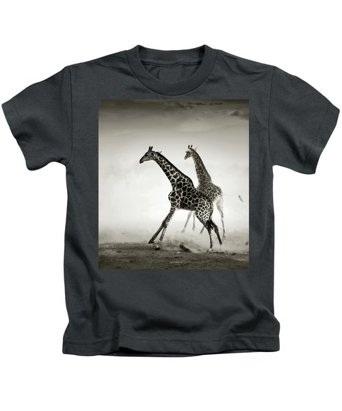 Giraffes Fleeing Kids T-Shirt