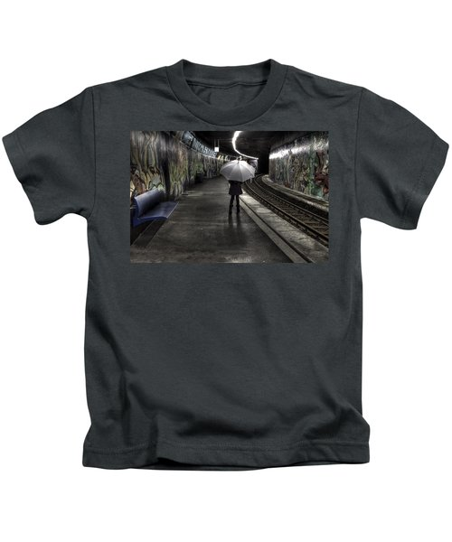 Girl At Subway Station Kids T-Shirt