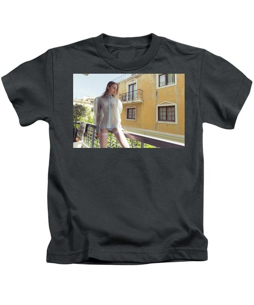 Girl On Balcony Kids T-Shirt
