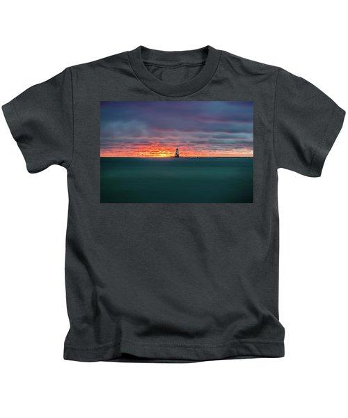 Glowing Sunset On Lake With Lighthouse Kids T-Shirt