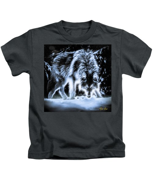 Glowing Wolf In The Gloom Kids T-Shirt