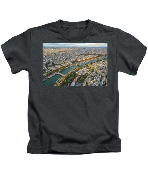 Golden Light Along The Seine Kids T-Shirt by Mike Reid