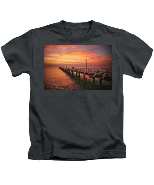 Golden Red Skies Over The Pier Kids T-Shirt