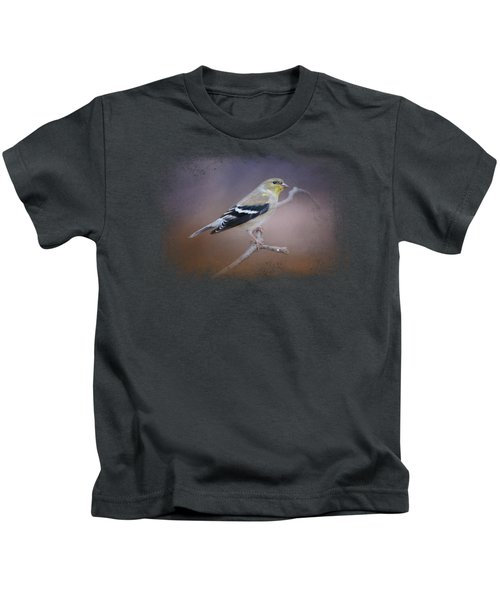 Goldfinch In The Light Kids T-Shirt by Jai Johnson