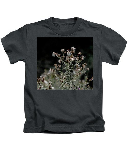 Goldfinch Sitting On A Thistle Kids T-Shirt