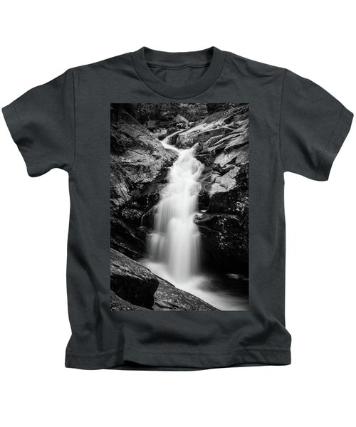 Gorge Waterfall In Black And White Kids T-Shirt