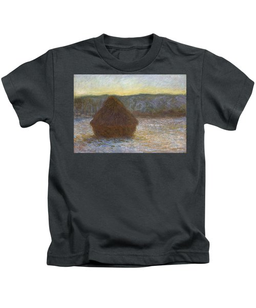 Grainstack, Thaw, Sunset, 1891 Kids T-Shirt