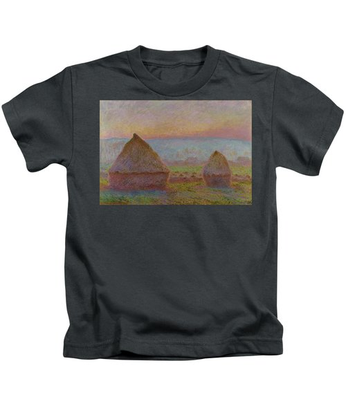 Grainstacks At Giverny The Evening Sun 1888 1889 Kids T-Shirt