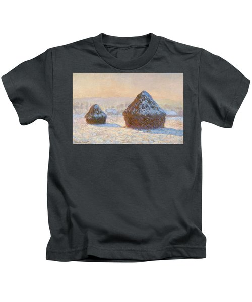 Grainstacks In The Morning, Snow Effect, 1891 Kids T-Shirt