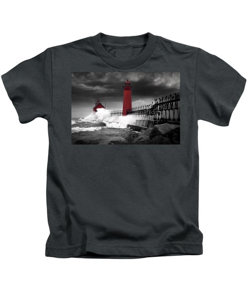 Grand Haven Lighthouse In A Rain Storm Kids T-Shirt