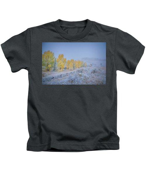 Grand Teton Fall Snowfall Scene Kids T-Shirt