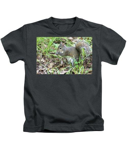 Gray Squirrel Eating Kids T-Shirt