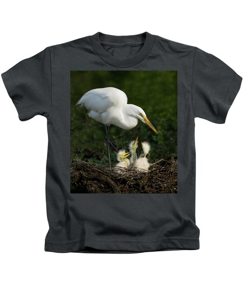 Great Egret With Chicks Kids T-Shirt