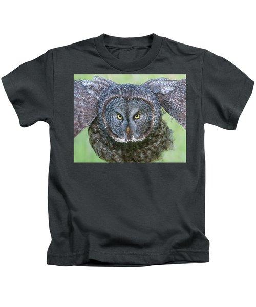 Great Gray Owl Flight Portrait Kids T-Shirt
