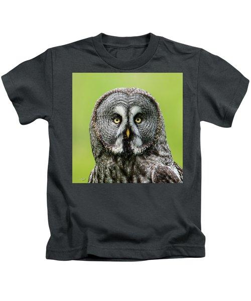 Great Grey's Portrait Closeup Square Kids T-Shirt