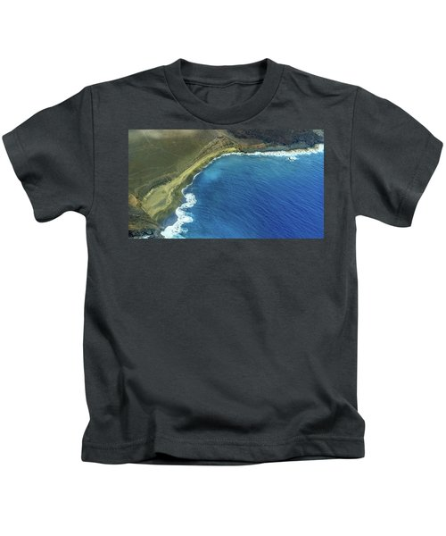 Green Sand Beach Aerial Kids T-Shirt