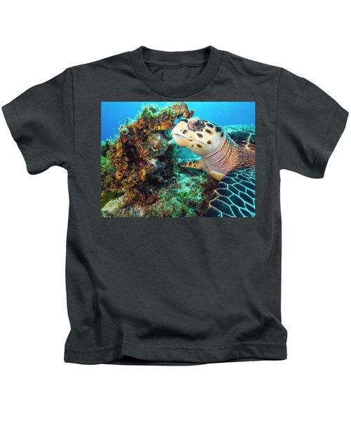 Green Turtle Profile Kids T-Shirt
