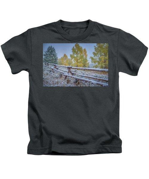 Gros Ventre Grand Teton Fall Snowfall Fence Kids T-Shirt