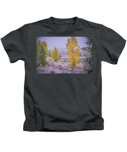 Gros Ventre Grand Teton Fall Snowfall Kids T-Shirt