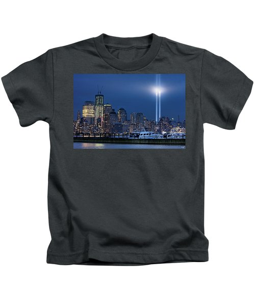 Ground Zero Tribute Lights And The Freedom Tower Kids T-Shirt