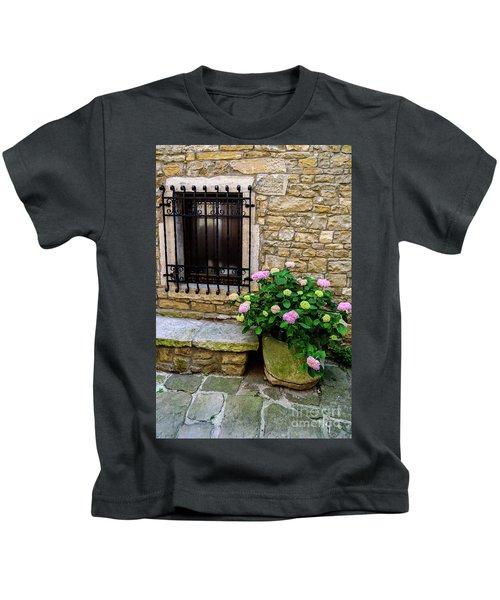 Groznjan Istrian Hill Town Stonework And Flowerpot - Istria, Croatia Kids T-Shirt