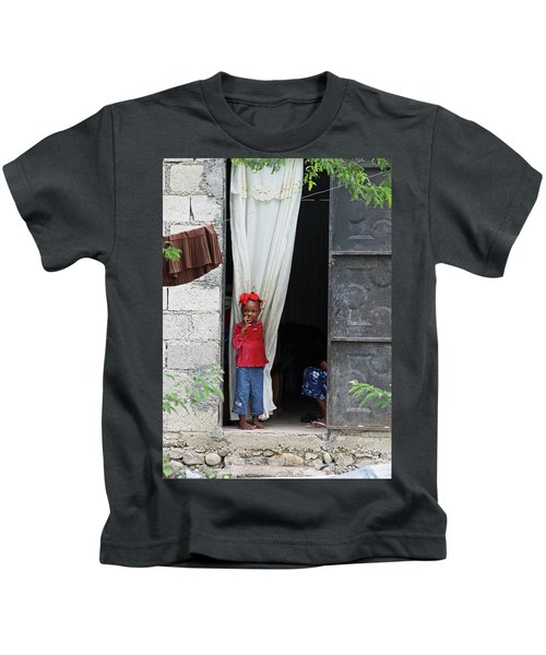 Haitian Girl In Red And Blue Kids T-Shirt