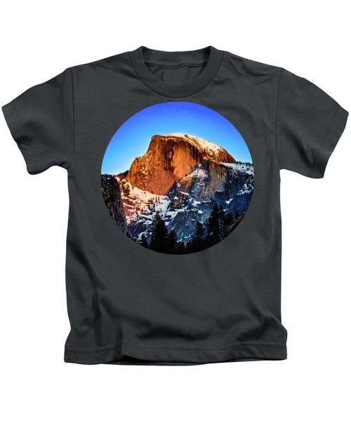 Half Dome Aglow Kids T-Shirt by Adam Morsa