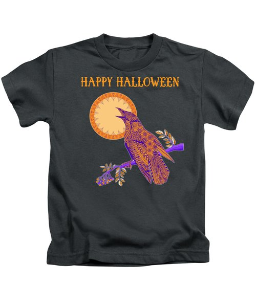 Halloween Crow And Moon Kids T-Shirt