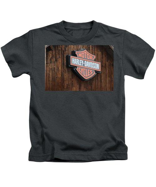 Harley Davidson Sign In West Jordan Utah Photograph Kids T-Shirt