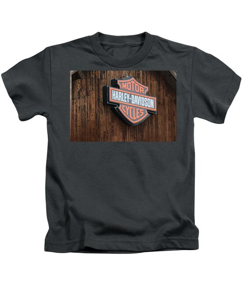 Harley Davidson Sign In West Jordan Utah Photograph Kids T-Shirt