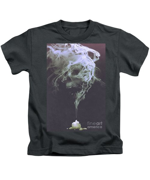 Kids T-Shirt featuring the painting Haunted Smoke  by Tithi Luadthong
