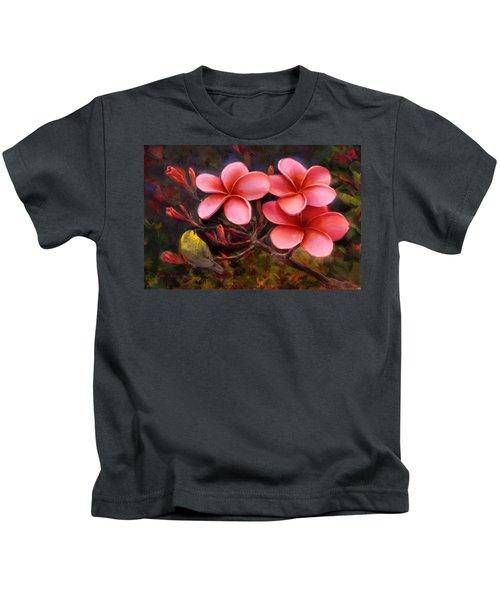 Hawaiian Pink Plumeria And Amakihi Bird Kids T-Shirt