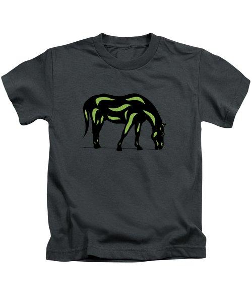 Hazel - Pop Art Horse - Black, Greenery, Purple Kids T-Shirt