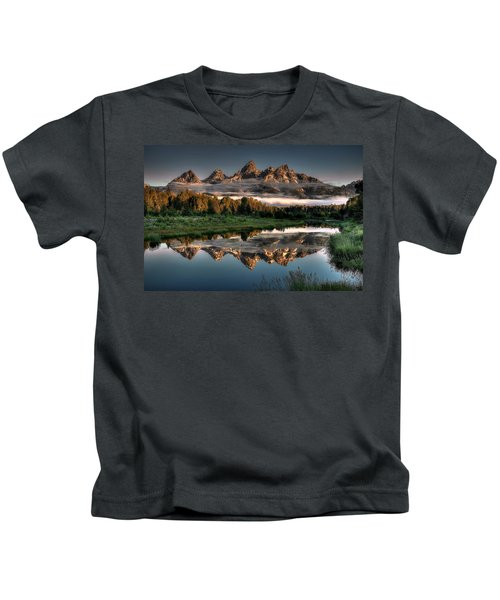 Hazy Reflections At Scwabacher Landing Kids T-Shirt by Ryan Smith