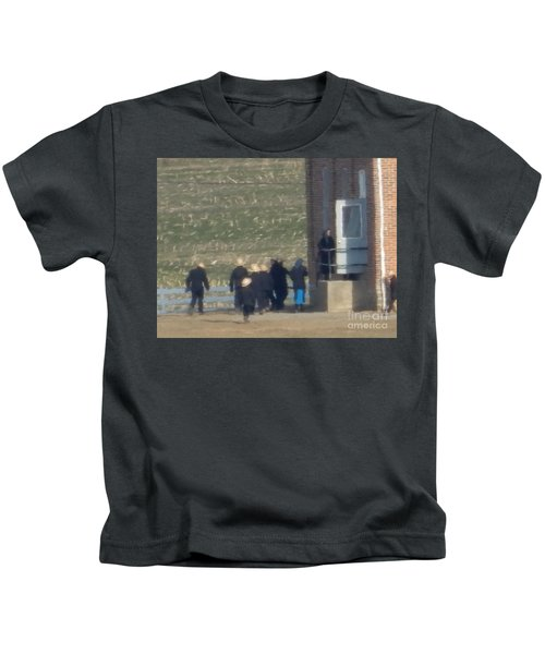 Heading Into The Schoolhouse Kids T-Shirt