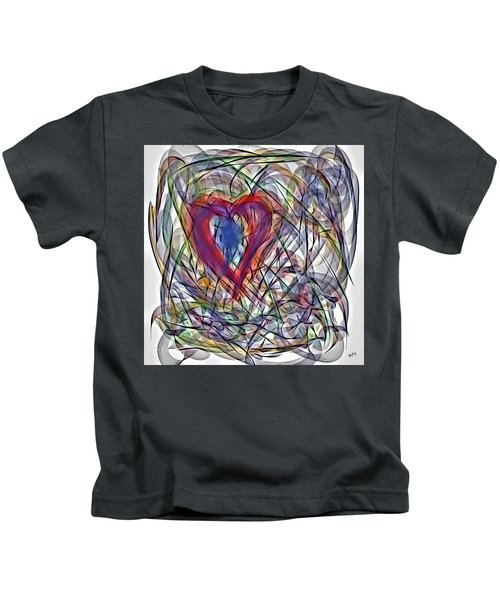 Kids T-Shirt featuring the painting Heart In Motion Abstract by Marian Palucci-Lonzetta