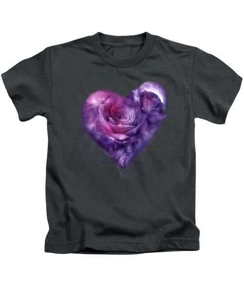 Heart Of A Rose - Burgundy Purple Kids T-Shirt