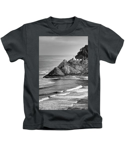 Heceta Head Light In Black And White Kids T-Shirt
