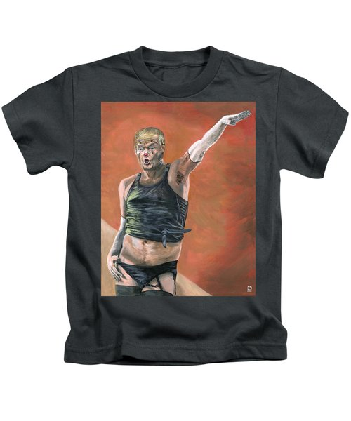 Kids T-Shirt featuring the painting Heil Trumpf by Matthew Mezo
