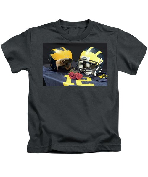 Helmets Of Different Eras With Jersey And Roses Kids T-Shirt
