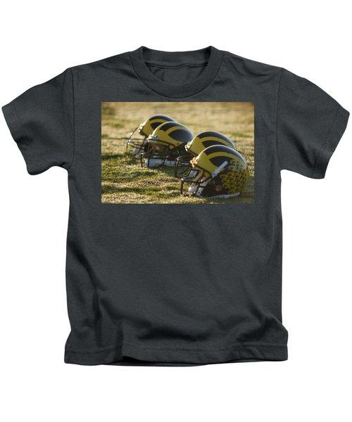Helmets On The Field At Dawn Kids T-Shirt